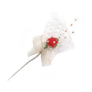 造花 ギフト フラワーブーケ バラ401金パールリボン「バレンタイン」 花束になったラッピングツール&ケーキピック|familiamia