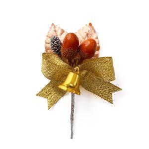 クリスマス ブラウンリーフどんぐりとはんの実と金リボンベル プレゼンやケーキを飾る クリスマスオーナメント&ケーキピック|familiamia