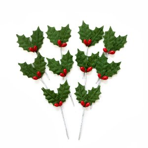 クリスマスケーキ 飾り  オーナメント FX-2 緑のヒイラギ (10本入)|familiamia