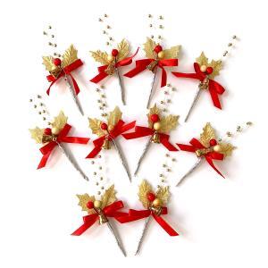 クリスマスケーキ 飾り  オーナメント FX-5  ベルがついた金パールがお洒落な金のヒイラギ (10本入)|familiamia