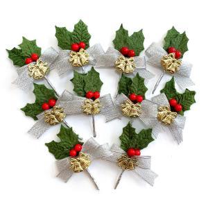 クリスマスケーキ 飾り  オーナメント FX-9  シルバーリボンと赤い木の実の緑のヒイラギ (10本入)|familiamia