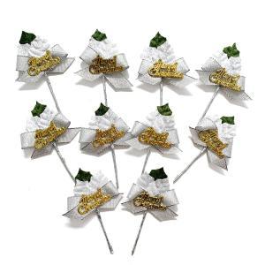 クリスマスケーキ 飾り  オーナメント FX-10  シルエットが美しい白と緑のヒイラギ (10本入)|familiamia