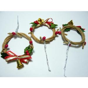 クリスマスケーキピック FX-11 小さい木の実がたくさんついたウッドリース(10本入):特価|familiamia