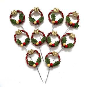 クリスマスケーキ 飾り  オーナメント FX-14 ヒイラギがついた赤と金のコードリース (10本入)|familiamia