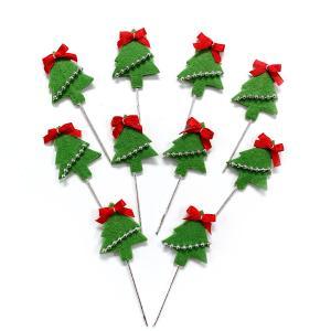 クリスマスケーキ 飾り  オーナメント FX-17 フェルトツリー (10本入)|familiamia