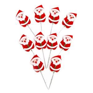 クリスマスケーキ 飾り  オーナメント FX-18 かわいいフェルトサンタ (10本入)|familiamia