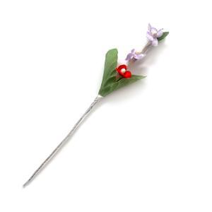 アウトレット造花 ケーキピック ひな祭り お誕生日 アニバーサリー♪うす紫と赤の小花113(1本)|familiamia