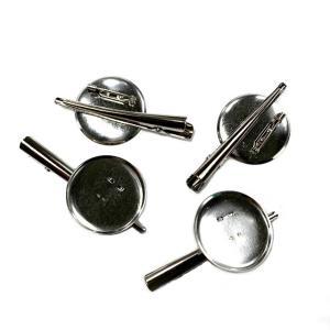 ブローチピン&ヘアクリップ Lサイズ 2WAY銀(1個) コサージュピン ヘアピン アクセサリー 手芸材料|familiamia