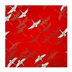 和紙 赤地に飛翔する鶴と金鶴  ラッピングや和紙工芸 和紙人形 和紙の花やちぎり絵に使いやすい千代紙の大きさにカット|familiamia