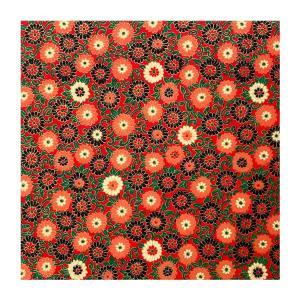 和紙 赤地に金の菊づくし ラッピングや和紙工芸 和紙人形 和紙の花やちぎり絵に使いやすい千代紙の大きさにカット|familiamia