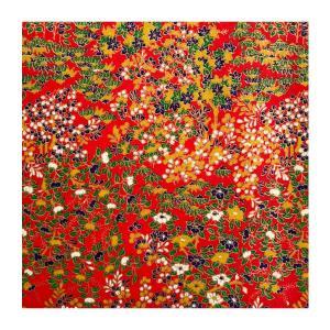 和紙 赤地金 紅葉と竹と藤絢爛 ラッピングや和紙工芸 和紙人形 和紙の花やちぎり絵に使いやすい千代紙の大きさにカット|familiamia