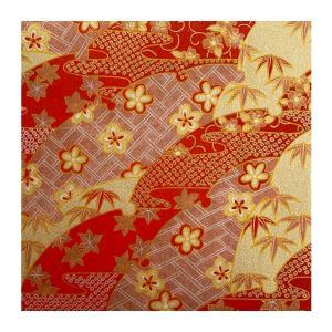 和紙 赤地金 笹と梅の屏風文様 ラッピングや和紙工芸 和紙人形 和紙の花やちぎり絵に使いやすい千代紙の大きさにカット|familiamia