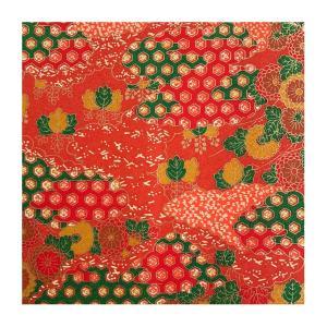 和紙 赤地金 菊と亀甲文様 ラッピングや和紙工芸 和紙人形 和紙の花やちぎり絵に使いやすい千代紙の大きさにカット|familiamia