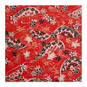 和紙 赤地金 流線文様に桜 ラッピングや和紙工芸 和紙人形 和紙の花やちぎり絵に使いやすい千代紙の大きさにカット|familiamia