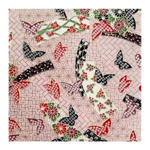 和紙 舞いとぶ蝶と古代文様 ラッピングや和紙工芸 和紙人形 和紙の花やちぎり絵に使いやすい千代紙の大きさにカット|familiamia