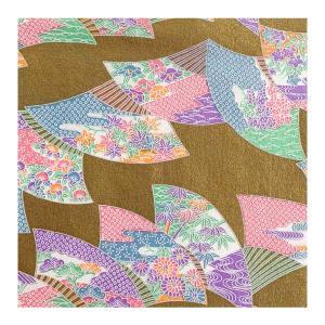 和紙 金地に扇の文様 ラッピングや和紙工芸 和紙人形 和紙の花やちぎり絵に使いやすい千代紙の大きさにカット|familiamia