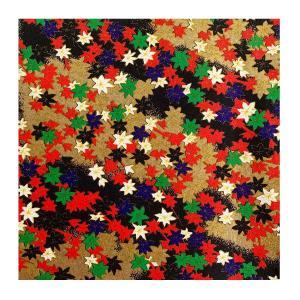 和紙 金紅葉文様紅 ラッピングや和紙工芸 和紙人形 和紙の花やちぎり絵に使いやすい千代紙の大きさにカット|familiamia