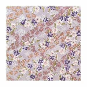 和紙 淡藤紫に桜文様 ラッピングや和紙工芸 和紙人形 和紙の花やちぎり絵に使いやすい千代紙の大きさにカット|familiamia
