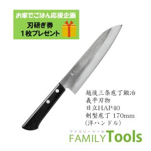 【送料無料】ぎへい HAPシリーズ 粉末ハイス鋼 HAP40 剣型包丁 170mm (洋ハンドル)|family-tools