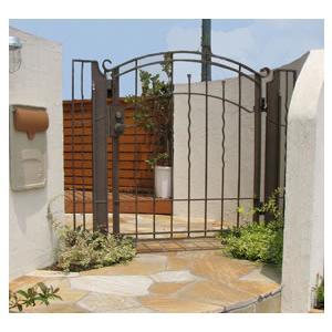 アール門扉1型(10-12) ディーズガーデン 洋風 おしゃれ アルミ 鋳物 錆びにくい 重厚 門扉 ※※|famitei