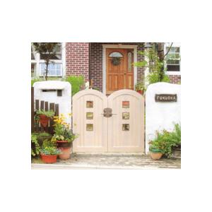 ファーム門扉1型 両開き標準柱仕様 ディーズガーデン 洋風 おしゃれ 木製調 かわいい 門扉 ※※|famitei