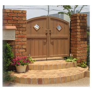 ファーム門扉2型 両開き標準柱仕様 ディーズガーデン 洋風 おしゃれ 木製調 かわいい 門扉 ※※|famitei