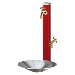 立水栓セット スプレスタンド ダークレッド(ポット+蛇口2個付属) ※ ユニソン 人気 シンプル 立水栓 水栓 角柱 水鉢 ※|famitei