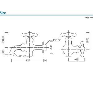 立水栓用蛇口(単品) プレーンフォーセット ツイン(シルバー)/水道 ガーデニング 蛇口 水やり 庭 立水栓 ユニソン|famitei|02