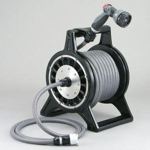 ホースリール ブロッサリール ブラック(ホース20m付) DR4-SN20BL / 洗車 水やり 庭 水道 ホース ガーデニング 激安|famitei