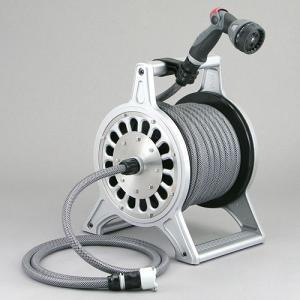 ホースリール ブロッサリール シルバー(ホース20m付) DR4-SN20SI / 洗車 水やり 庭 水道 ホース ガーデニング 激安|famitei