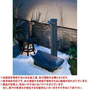 カクダイ 信楽焼 陶器水栓柱+手水鉢+蛇口セット ※ KAKUDAI 陶器 焼き物 立水栓 水受け 水鉢 ※|famitei