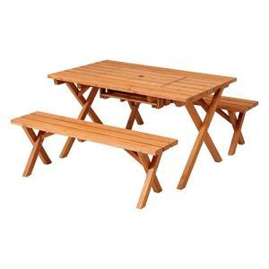 杉材 BBQテーブル&ベンチセット コンロスペース付き  1959418|fan-field