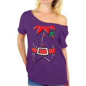 ユニセックス 衣類 トップス Awkward Styles Elf Costume Off Shoulder Shirt Elf Suit Off the Shoulder T Shirt Christmas Slouchy Oversized Sh