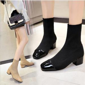 ソックスブーツ ショートブーツ レディース靴 スエード調 チャンキーヒール 太ヒール5cm  ポインテッドトゥ ワンサイズ小さめご購入して|fanshopmatsuda