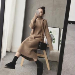 ワンピースセーターニットタートルネックニット レディース ワンピース 長袖 韓国ファッション秋冬大きいサイズ 4色着痩せ ゆったり 女性 カジュアル おしゃれ|fanshopmatsuda