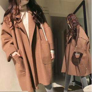 アウター チェスターコート レディース ダボッと韓国ファッションで可愛い薄手のコートアウター チェスターコート 襟付き  ロングセクション カジュアル|fanshopmatsuda