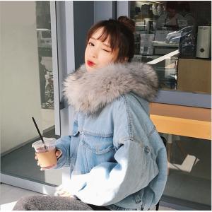 2018秋冬新作もこもこ裏ボアあったかデニムジャケット 中綿デニム 暖かい ファーフード付き ゆったり 長袖 Gジャン レディースS/M/L/XL/2XL fanshopmatsuda