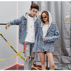 原宿系 カップルコート ペアルック デニムジャケット レディースジャケット メンズコート アウター トップス フード付き 2018新品 韓国ファション|fanshopmatsuda
