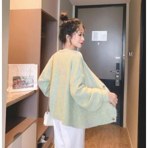カーディガン レディース ニット セーター  アウター ショート丈 長袖  秋冬 カレッジ風 セーター韓国ファッション かわいい グリーン 4色 純色|fanshopmatsuda