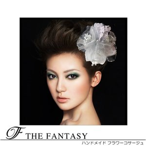 コサージュ グレー コサージュ 蘭  髪飾り 2way ヘッドドレス fh19158gy