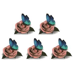 (ファンタジー) TheFantasy タトゥーシール 薔薇 蝶 3D tm1078 【ワンポイント】