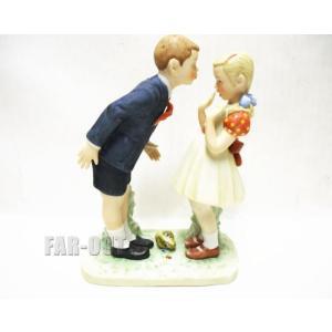 ノーマン・ロックウェル Day in the Life of a Girl 男の子と女の子 キスにびっくり フィギュアリン 1980年 GORHAM|far-out