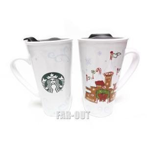 スターバックス コーヒー セラミック クリスマス ジンジャーブレッド シンデレラ城 タンブラー マグ 取っ手ハンドル付き ディズニーテーマパーク限定 Starbucks|far-out