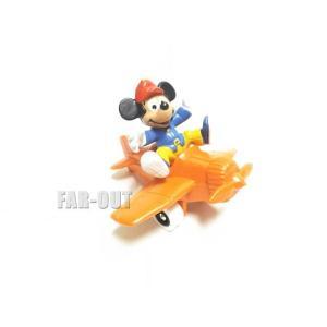 ミッキー 飛行機 オレンジ PVCフィギュア Bully社 1980年代 ディズニー|far-out