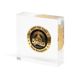 東京ディズニーランド 5周年記念 メダル コイン ペーパーウェイト アクリルブロック ディスプレイ 1988年 TDL Happy Five Years|far-out