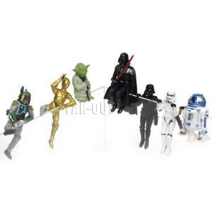 コップのフチのスター・ウォーズ PVCフィギュア 7点コンプリートセット ダースベイダー、シャドウトルーパー、ストームトルーパー、R2-D2、C-3PO、ヨーダ