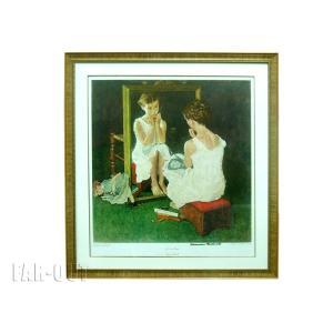 Norman Rockwell ノーマン・ロックウェル 鏡に向かう少女 Girl at the Mirror オリジナル版画 コロタイプ サイン入り アート フレーム額入り|far-out