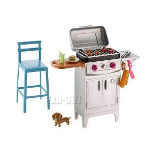 バービー Barbie Barbeque & Puppy バーベキューグリル&子犬のフィギュア プレイセット バーベキュー&パピー 家具|far-out