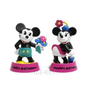 ミッキー&ミニー パイアイ 花を持つ PVCフィギュア 2点セット Bully社 ハッピーバースデー 1990年代 ディズニー|far-out