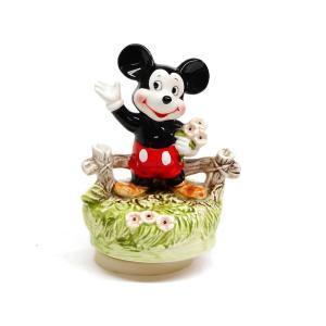 ミッキー ポーセリンフィギュア 花を持つ オルゴール付き ヴィンテージ ディズニー フィギュアリン|far-out